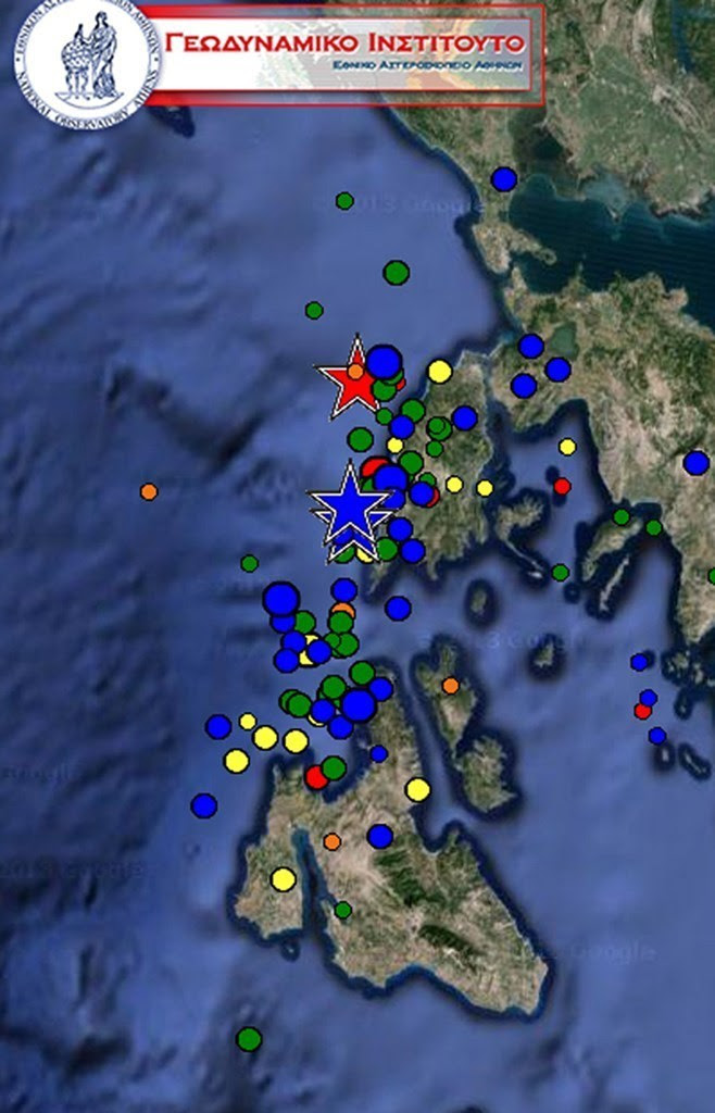 Xάρτης της Λευκάδας και της Κεφαλονιάς με τις σεισμικές δονήσεις