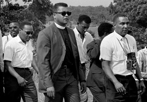 SNCC and SCLC leaders, including Martin Luther King, Jr., James Lawson and Stokely Carmichael, when they took up the March Against Fear that was started by James Merideth. Ernest C. Withers with camara.(Photo: Fred Griffith) by Pan-African News Wire File Photos