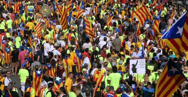 Aspecte d'una part de la manifestació per la Diada / EFE