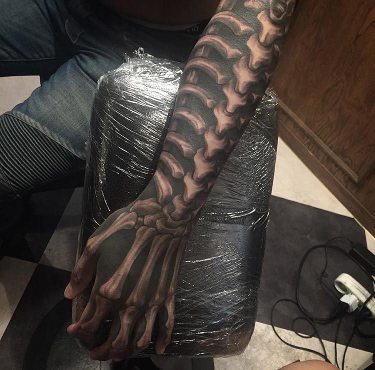Spine Rib Cage Hand Bones Best Tattoo Design Ideas