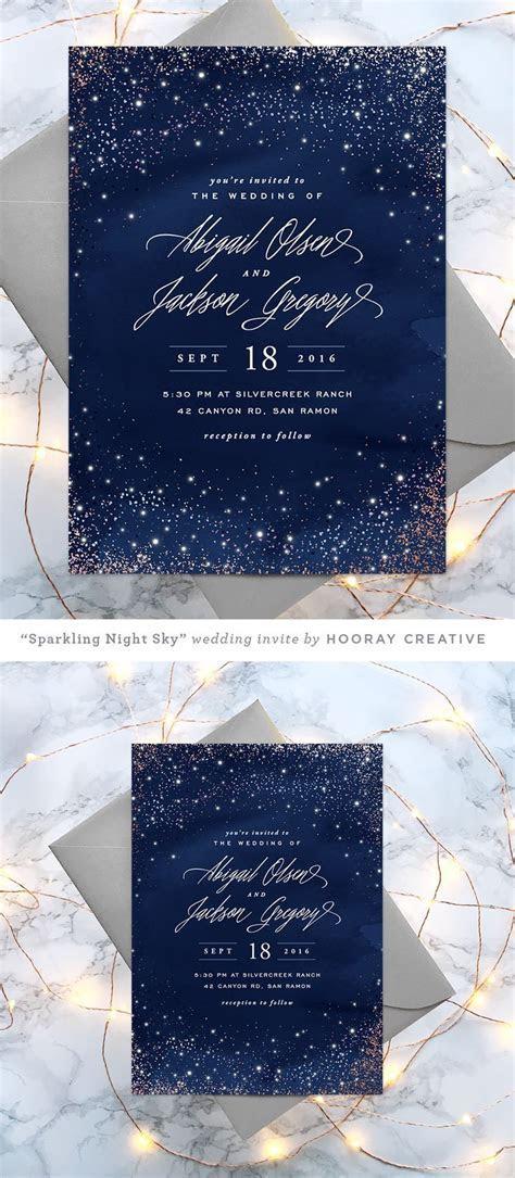 Sparkling Night Sky starry wedding invitation   design and