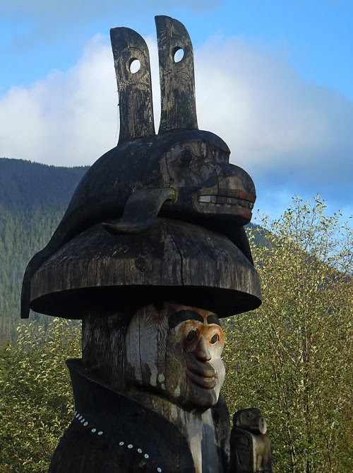 totem with double fin hat, Cape Fox Lodge, Ketchikan, Alaska