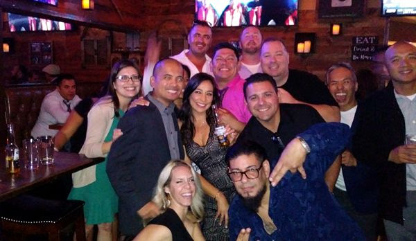 Taking another group photo at the post-reunion gathering at On the Rocks Bar & Grill in Newport Beach...on October 6, 2018.