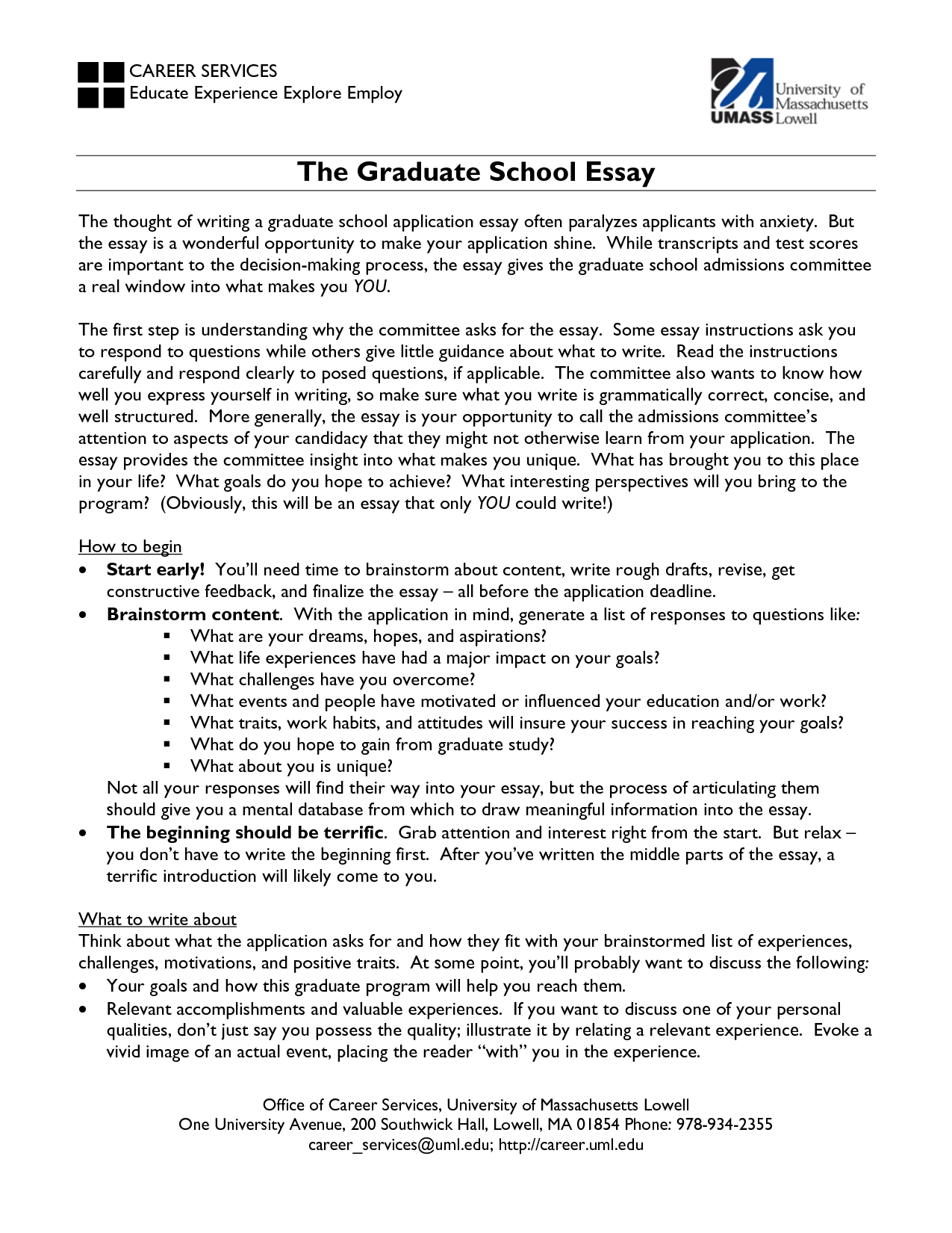 How to write an application essay for graduate school