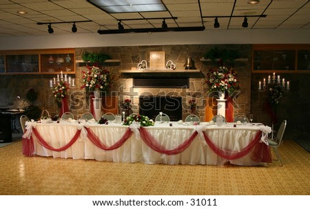 stock photo The head table at the reception of a wedding