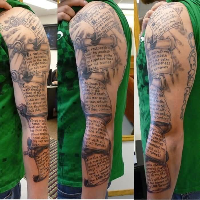 Amazing Grey Ink Script Sleeve Tattoo