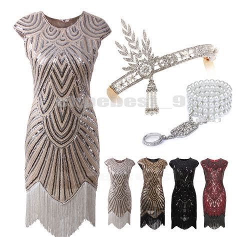 Details about 1920s Flapper Dresses Great Gatsby Sequin