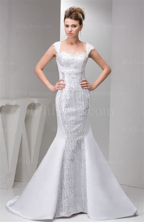 White Mermaid Wedding Dress with Sleeves Short Sleeve
