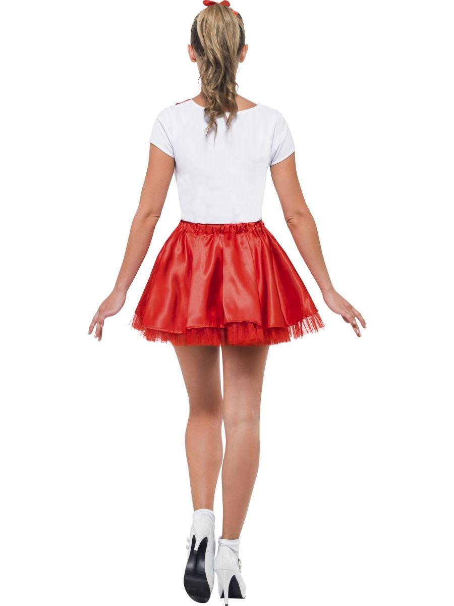 ladies grease sandy cheerleader 50s fancy dress costume