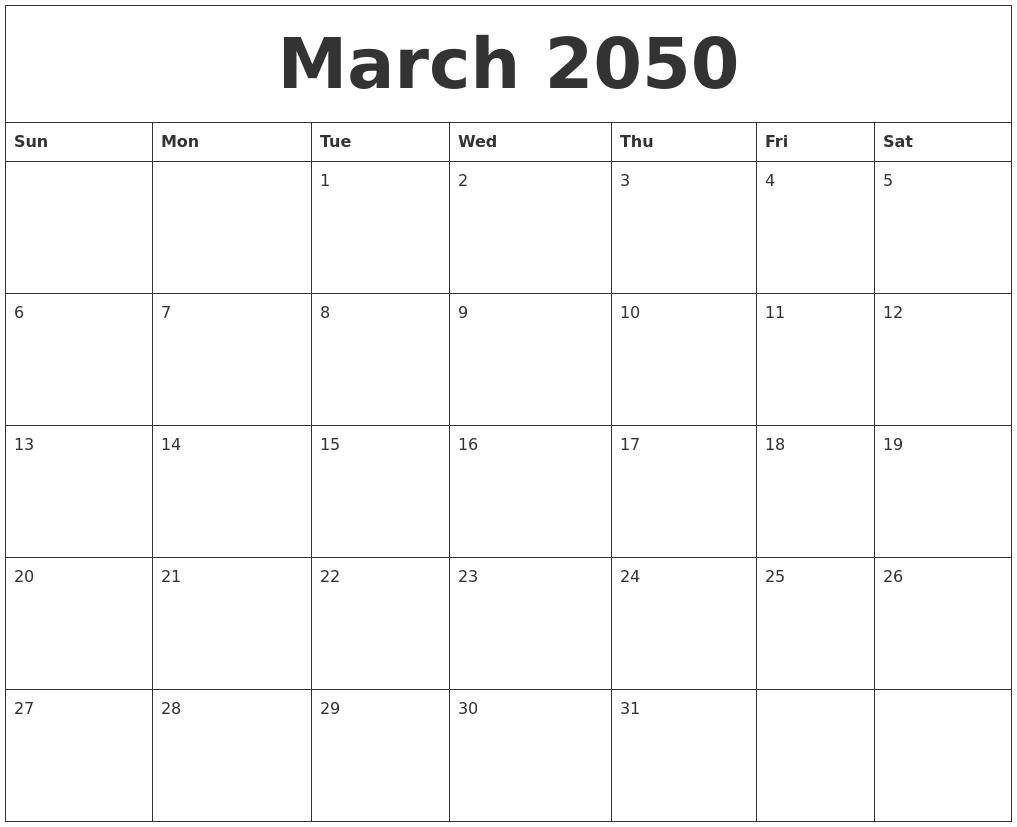 march 2050 calendar templates free