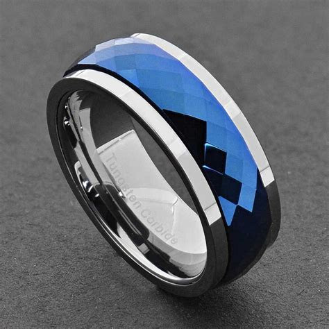 Tungsten Band Multi Faceted Blue Prism Spinning Center Men