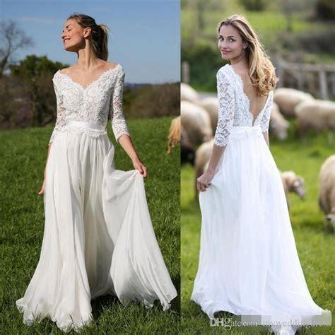 Beach Vintage Plus Size Long Sleeve Wedding Dresses V Neck