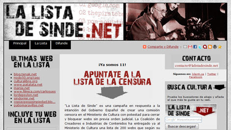 Captura de 'LaListaDeSinde.Net'.