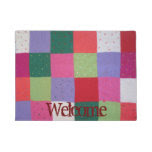 fun shabby chic colorful knitted patchwork doormat