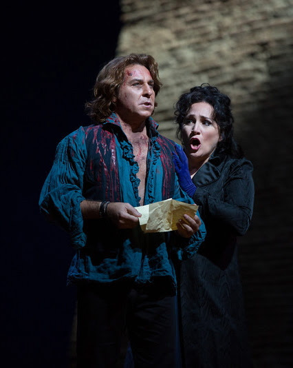 "Roberto Alagna and Patricia Racette in Puccini's ""Tosca"" at the Metropolitan Opera.   Photo: Marty Sohl"