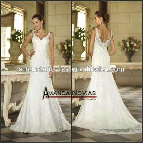 Low Price Cap Sleeve Open Back Lace Wedding Dress Pattern