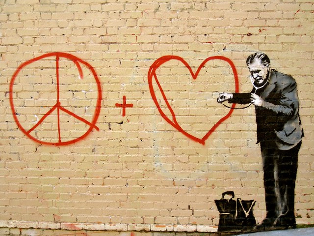 Banksy in SF - Peace and Love