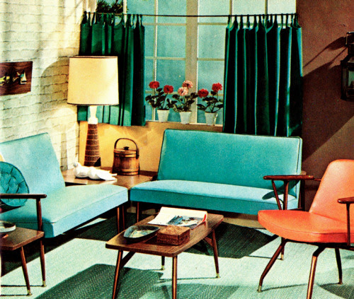 The Nifty Fifties — 1950s interior design illustration.