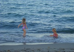 Girls in the ocean first time