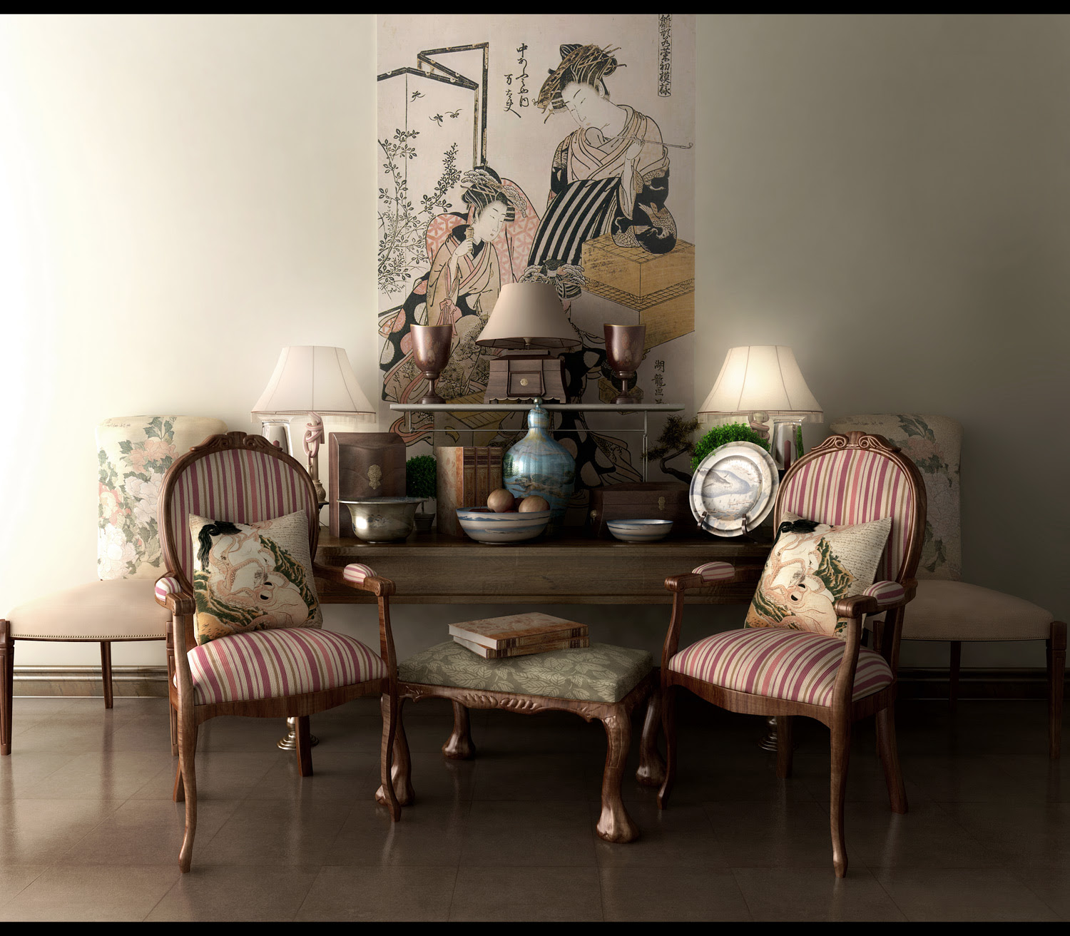Classy living area with japanese modern armchairs small stool with