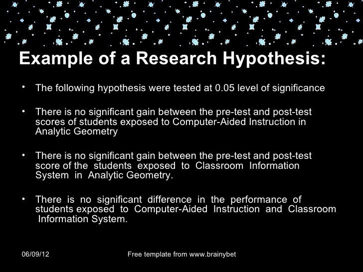 Null Hypothesis Thesis Example - Thesis Title Ideas For College