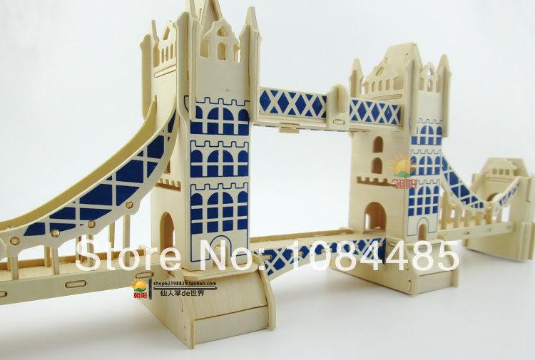 DIY Wooden 3D Puzzle London Tower Bridge Model Building Kits Puzzle
