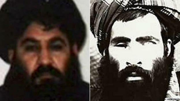 Mullah Akhtar Mohammad Mansour (L) and Mullah Omar