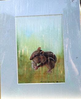 chipmunk with peanut painting