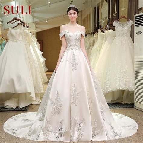 SL 83 Designer Wedding Bridal Gowns Satin Embroidered