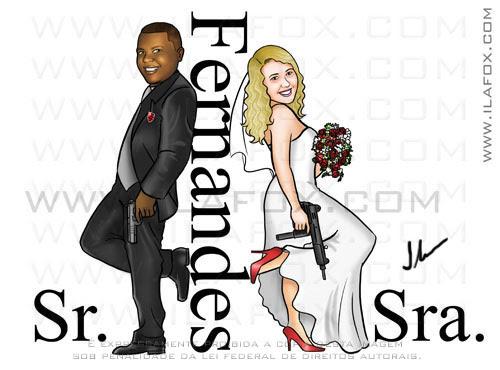 Caricatura noivos, caricatura casal armado, Fernandes, casal com pistolas, by ila fox