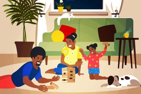 A family is shown playing a game in their home.