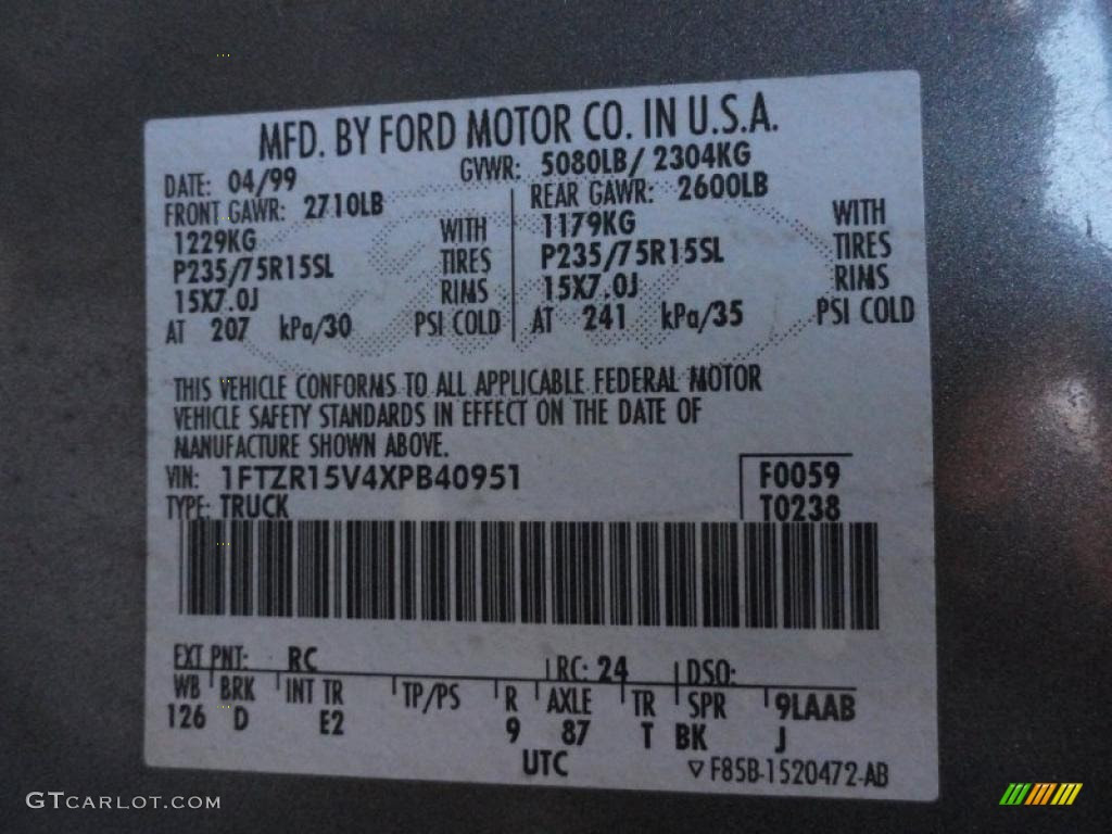 Ford Ranger Paint Codes