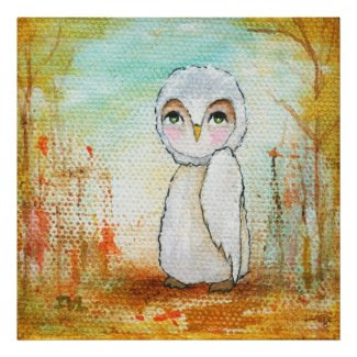 Autumn Joy Whimsical Woodland Owl Art Painting Poster