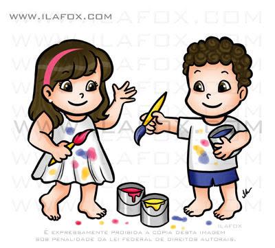 caricatura fofinha, crianças pintando, menino e menina brincando de pintar, by ila fox