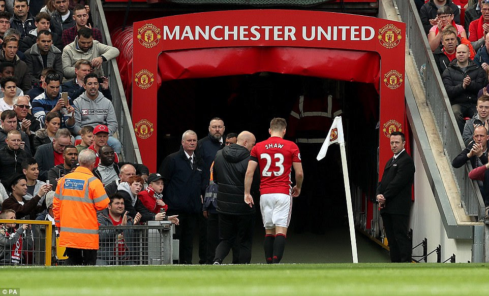 Shaw hobbled off the field and made his way down the tunnel at Old Trafford to add to the Red Devils' injury woes this season