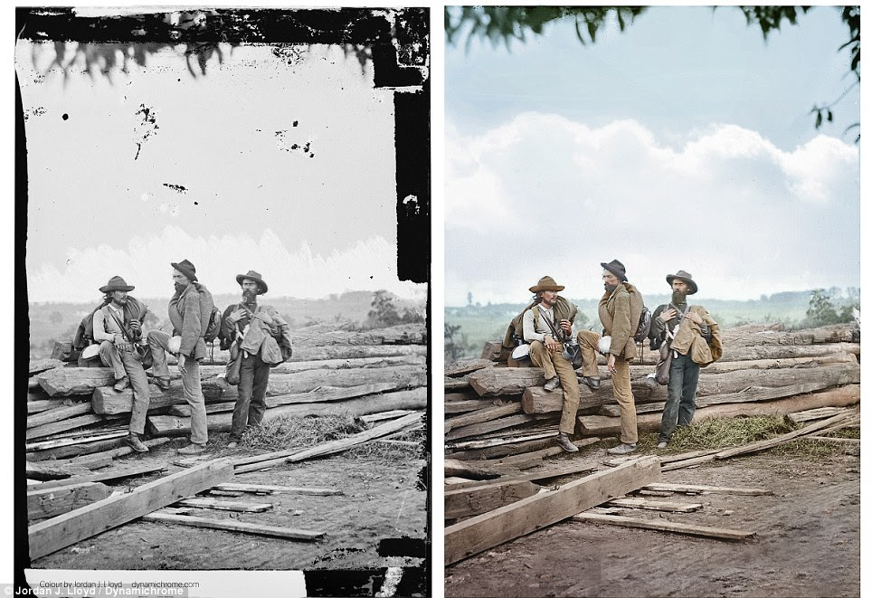 Prisoners of war: This colorized image and its original black and white stenograph taken by Mathew Brady in 1863 on top of Seminary Ridge in Gettysburg from the main eastern theater of the war show three Confederate prisoners