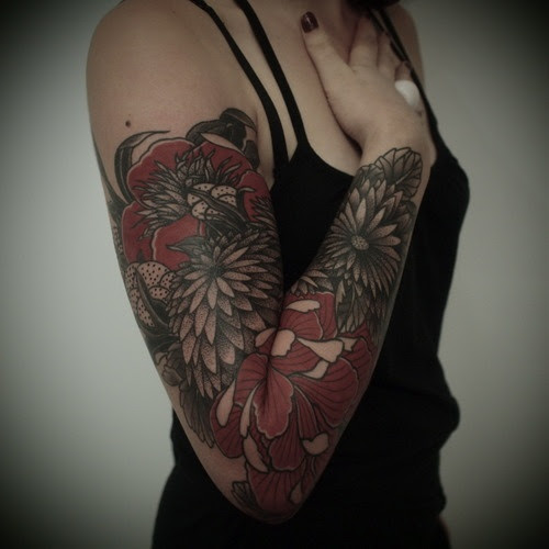 Black And Red Flower Arm Sleeve Tattoo By Guy Le Tattooer Tattoomagz