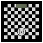 Monogram Black & White Checkered Pattern Bathroom Scale