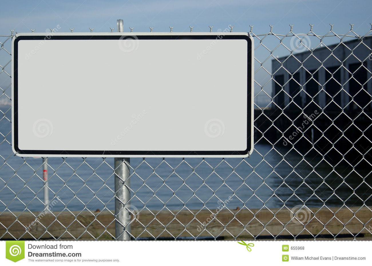 Blank Sign On Fence Royalty Free Stock Photos - Image: 655968