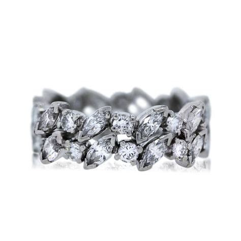 Platinum Marquise and Round Cut Diamond Eternity Band Ring