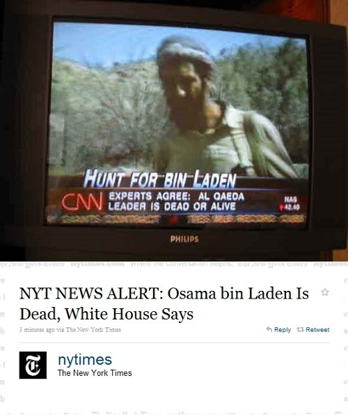 thedailywhat:  Breaking News of the Day: Osama bin Laden, founder of al-Qaeda and the world's most wanted terrorist, is dead. President Obama will announce tonight that the body of bin Laden is in the hands of the US government following a military operation. More to come. [nytimes.]