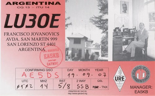 LU3OE QSL (R) 20M SSB Argentina