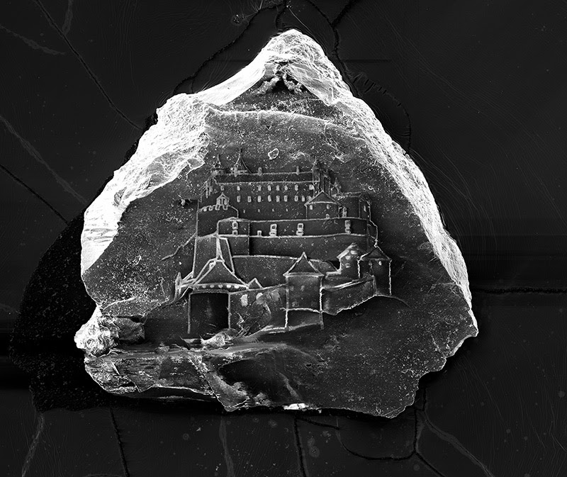 The Worlds Smallest Sandcastles Built on Individual Grains of Sand by Vik Muniz and Marcelo Coelho sand etching