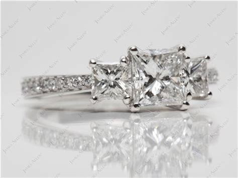 Platinum 3 Stone, Pave Set Diamond Engagement Ring with