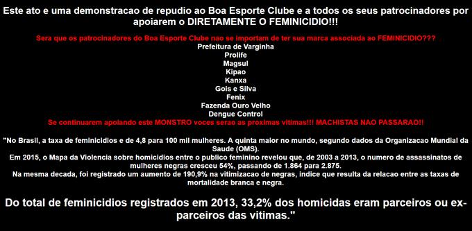 Página oficial do Boa Esporte foi hackeada após anúncio do goleiro Bruno (Foto: Reprodução site Boa Esporte)