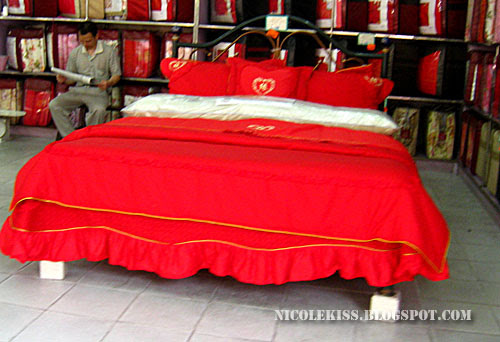 red wedding bed
