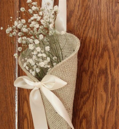 Khaki burlap pew cone / rustic wedding decor. by