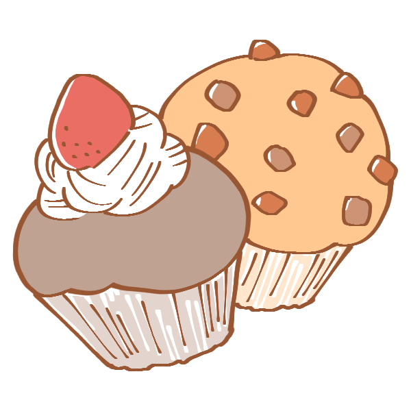 いちごとチョコのカップケーキのイラスト かわいいフリー素材が無料の