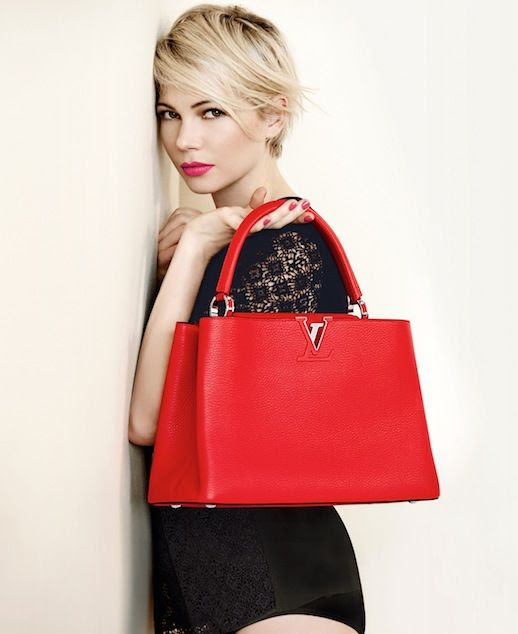 Le Fashion Blog Michelle Williams Louis Vuitton SS 2014 Campaign Crochet Romper Red Leather Top Handle Bag Short Blonde Hair Haircut Beauty Lipstick Photographer Peter Lindbergh 10 photo Le-Fashion-Blog-Michelle-Williams-Louis-Vuitton-SS-2014-Campaign-Red-Bag-10.jpg