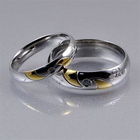 Mens Women Silver Gold Stainless Steel CZ 4mm 6mm Matching